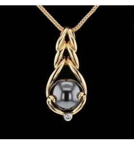 Collier Gilbert Albert or jaune diamant bille grise