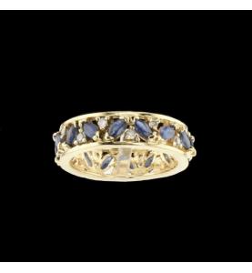 Eternity Ring Gelbgold Saphire und Diamanten