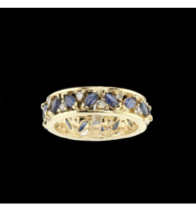 Eternity Ring Yellow gold sapphires and diamonds