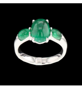 Ring Creation Gold gray emeralds of 3.96 carats