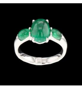 Ring Kreation Gold smaragd grau 3.96 Karat