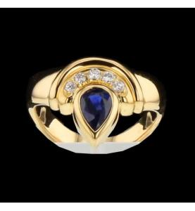 Bvlgari Ring Yellow Gold Sapphire and Diamonds