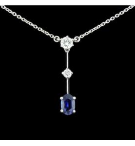 Carl Bucherer pendentif or gris diamants saphir