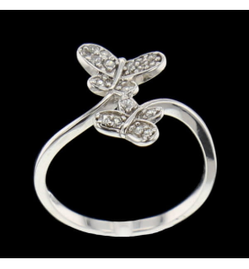 Ring Butterfly Stones Synthetic Silver