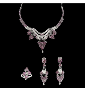 Metall grau Diamanten und Rubine