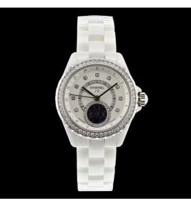 Chanel J12 weiß Moonphase Diamanten
