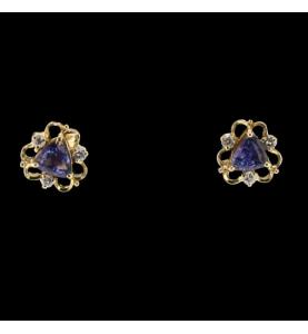 Boucles d'oreilles Or jaune Saphir et Diamants