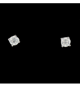 Boucles d'oreilles clous diamants et or gris