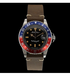 Mathey Tissot 42 Blue Red Leather