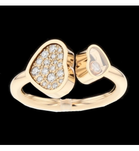 Chopard Ring Happy Heart Pink Gold Paved