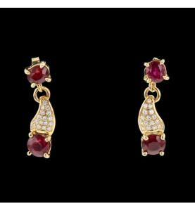 Boucles d'oreilles Or Rubis Diamants