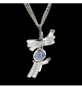 Gold Halskette Grau Saphir mit Sternen und Diamanten