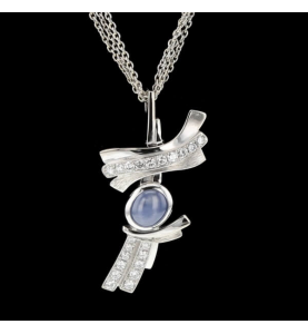Necklace gold gray sapphire starry and diamonds