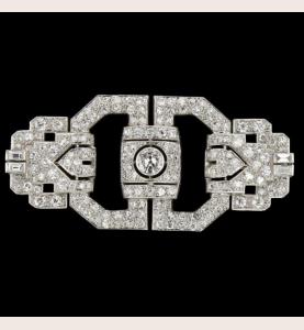 Broche Art déco or gris diamants